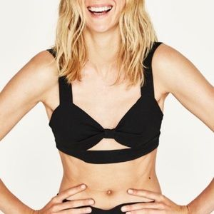 Zara black bralette crop top with cut out detail